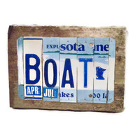 License Plate Sign - Boat Minnesota - Blue and White - Reclaimed Wood