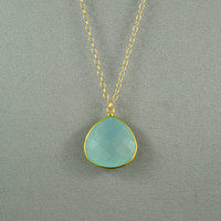 Beautiful Chalcedony Heart Necklace, Aqua Blue, 24K Gold Vermeil Bezel, 14K Gold Filled Chain, Beautiful Necklace