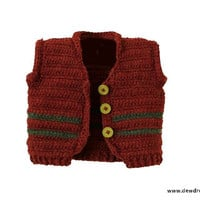 Pattern Crochet vest Sweater Jacket Collar unisex Boys Girls Baby Newborn Toddler Easy Dewdrops No: 219