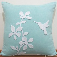 Spring Blossom Humming Bird Pale Teal and White Pillow Cover. Whimsy. Decorative Felt Appliques