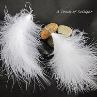 "Natural White Marabou Feather Earrings - 5"" Long"
