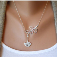 Fashion Adjustable Silver Bird branches Clavicle Necklace Vintage Antique Silver Necklace B42S1
