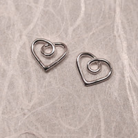 Tiny Silver Heart Earrings Studs Dainty Heart Jewelry 8x7 by SARANTOS