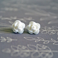 Petite White Rose Cabochon Earrings