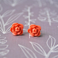 Petite Orange Rose Cabochon Earrings