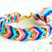 Carnival Candy - Peachy Keen, Neon Pink, Capri Blue & Rich Navy - Chevron Braided Modern Friendship Bracelet - Gold Chain