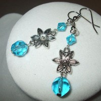 NEW Summer Blossoms - Turquoise Blue Glass and Flower Earrings