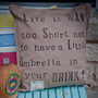 NEW -&quot;Umbrella in your drink&quot; hand painted textured natural cotton pillow cover - 20&quot; x 20&quot;