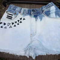Unique, One-of-a-Kind, Vintage Bleached Shorts with Aztec pattern