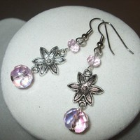 NEW Summer Blossoms - Pink Faceted Glass and Silver Flower DAngle EArr