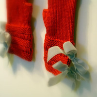 Red Knitted Fingerless Gloves, Mittens or Wrist Warmers, Grey Velvet Ribbon Bow ties