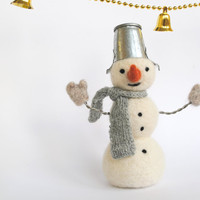 Needle felted snowmen Christmas Holiday decor