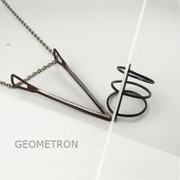 NECKLACE GEOMETRON  Minimalistic, Modern, Geometric. Forged and Hammered. Sterling Silver.