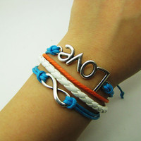 Blue Rope and White Leather Steampunk Bracelet antique silver karma love  bracelet,Infinity Wish Love Bracelet Adjustable Bracelet 907S