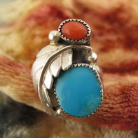 Ring - Size 7 1/4 - Sterling Silver - Navajo Sterling Ring - Turquoise - Red Coral - Blue Southwest Jewelery