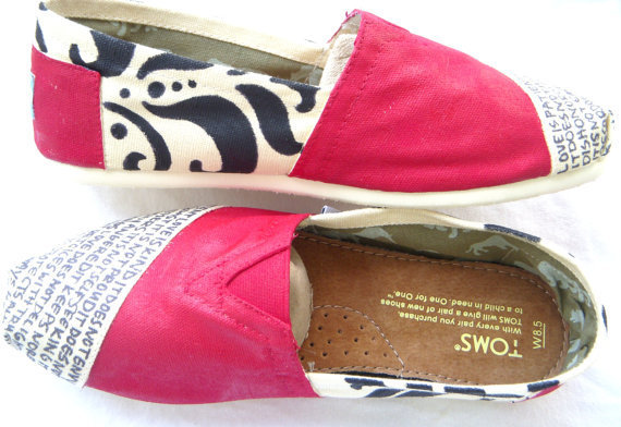 The Courtney - Red and Cream Custom TOMS