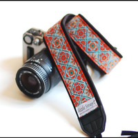 New Orange and turquoise Camera strap with upper  interchangeable - A Southwestern dslr camera strap