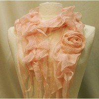 SC5 chiffon long self rose scarf peach
