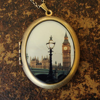 London Photo Locket - A Day In The Life - Big Ben Westminster Travel Photo Locket Necklace