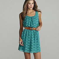 I.N. San Francisco Belted Lace Dress turquoise green lace dress | Dillards.com