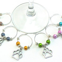 Dog Paw Wine Charms- 6 Cat or Dog Paw Print Wine Tags, Colorful Beads, Wine Glass Accessories, Animal Lover Wine Tags