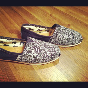Custom Hand-Painted Toms in Navy and Silver