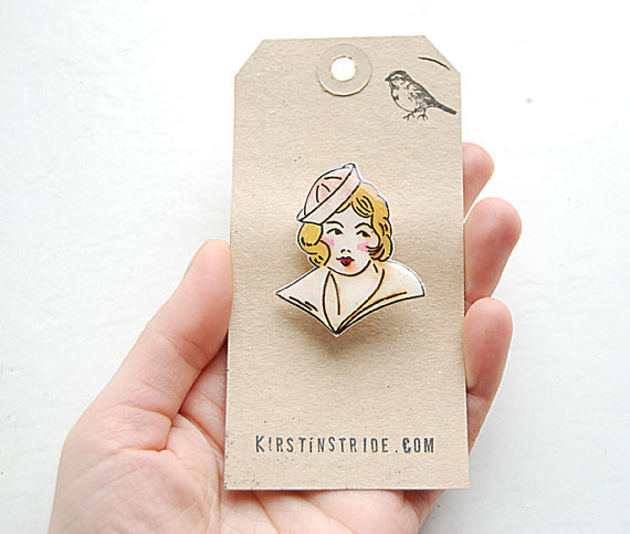 Hand drawn vintage sailor girl tattoo brooch