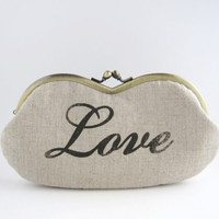Sunglass/ Eyeglass Case -Love print on beige linen