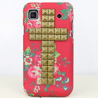 Beautiful Flower  Hard Case Cover With Bronze  Stud For Samsung Galaxy S S1 i9000