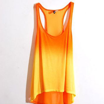 Dip Hem Gradient Vests with Racer Chiffon Back