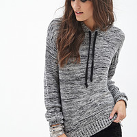 FOREVER 21 Marled Knit Hooded Sweater