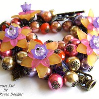 Sari Sunset: Bronze base, multi-colour beaded charm Bracelet - by WhiteRavenDesigns on madeit