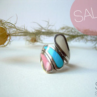Summer petals silver  vintage ring SALE