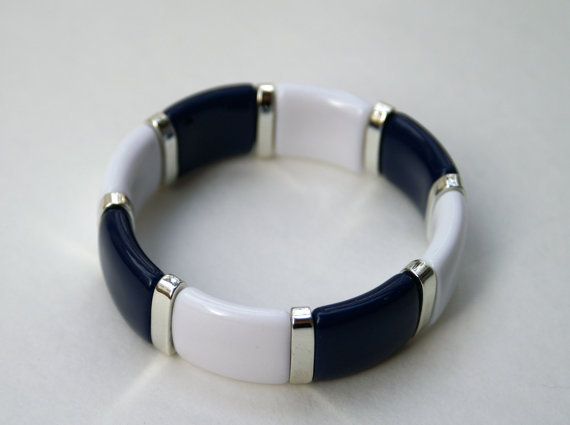 Vintage Stretch Bracelet Navy Blue and White Nautical