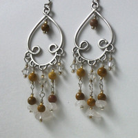 Earth-tones Tan and Silver Chandelier Earrings