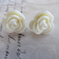 White Flower Stud Earrings, Gift Earrings, Bridesmaid Earrings, Teen Earrings