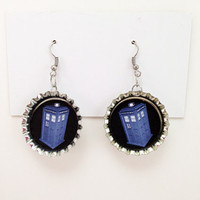 Bottle Cap Earrings Doctor Who TARDIS Earrings Police Box