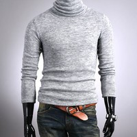 Men Long Sleeve High Neck Light Grey Wool Sweater M/L/XL@S5-6390-1lg $17.70 only in eFexcity.com.