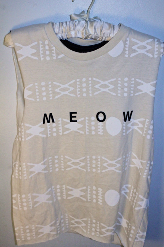 Cream and White Aztec Printed 'Meow' Tank