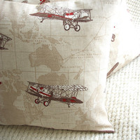 FREE DELIVERY Airplane World Map Travel Pillow Cushion Cover 16&quot;