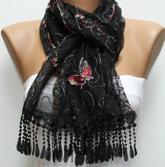Red Black Scarf -  Cowl with Lace Edge