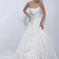 A-line Sweetheart Beading Sleeveless Court Trains Taffeta Wedding Dresses For Brides@YSP0085 | $149.99 | Maryswill.com.
