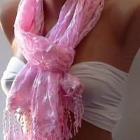 pink -  Elegance  Shawl / Scarf with Lacy Edge.
