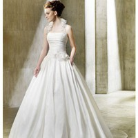 Ball Gown Halter Floor Length Dropped Waist Gown with Taffeta Nordica : $199.00 at VikiDress.com.