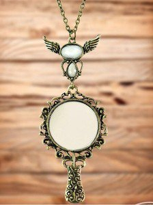 Stylish Vintage Angel Wings Mirror flower Pendant Necklace Long Chain lady