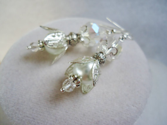SALE White Glass Pearl & Crystal Layered Victorian Style Earrings
