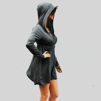 Baby Doll Grey Dress With Hoodie
