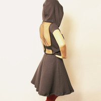 Grey Hooded Dress with Sheer Back (Organic Cotton)