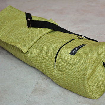 yoga and pilates mat bag - sturdy green weaved, textured, with zipper and adjustable strap