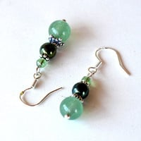 Green beaded earrings -  gemstone, glass and sterling silver - sea green